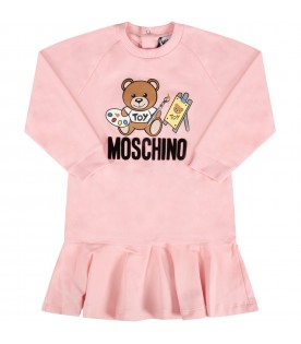 Pink babygirl dress with black logo and Teddy Bear