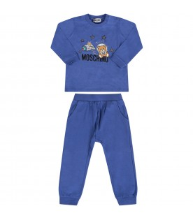 Royal blue babyboy tracksuit with colorful musical notes