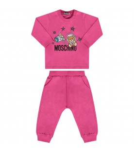 Fucshia babygirl tracksuit with colorful musical notes