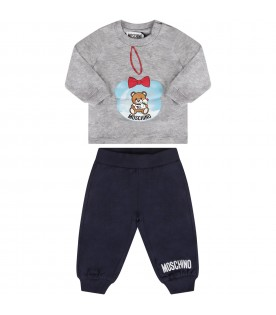Grey and blue babygirl tracksuit with Teddy bear and black logo