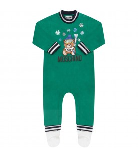 Green babyboy babygrow with Teddy Bear and snowflakes
