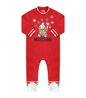 Red babyboy babygrow with Teddy Bear and snowflakes