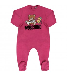 Fushia and white babygirl set with Teddy Bear painter