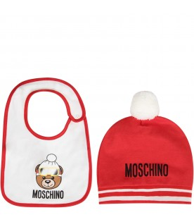 White and red babykids set with Teddy bear and logo