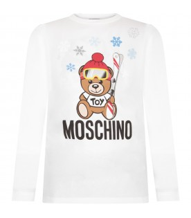 White kids T-shirt with Teddy bear and snowflakes