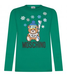 Green kids T-shirt with Teddy bear and snowflakes