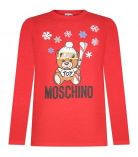 Red kids T-shirt with Teddy bear and snowflakes