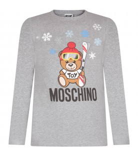 Grey kids T-shirt with Teddy bear and snowflakes