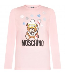Pink girl T-shirt with Teddy bear and snowflakes