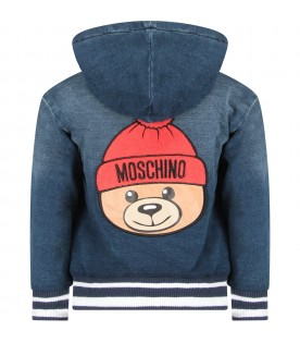 Blue kids sweatshirt with colorful Teddy Bear