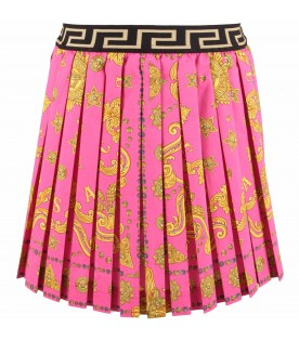 Fucshia girl skirt with gold medusa e greca