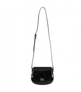 Black girl bag with metallic logo