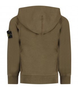 Military green boy sweatshirt with iconic patch