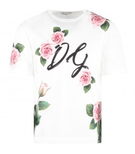 White girl T-shirt with pink roses