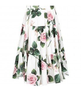 White girl skirt with pink roses