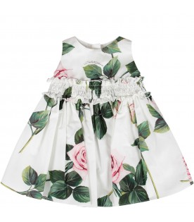 White babygirl dress with pink roses and black logo