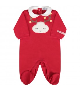 Red babykids babygrow with yellow stras and white cloud