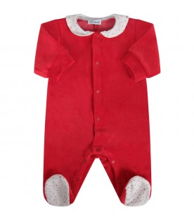 Red babykids babygrow with red stars