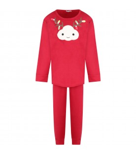 Red kids pajamas with white cloud and colorful lights
