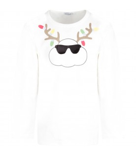 White kids T-shirt with white cloud and colorful lights