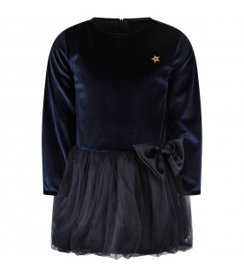 Blue girl dress with metallic star and bow