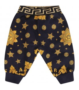 Blue sweatpants for baby boy with gold iconic medusa