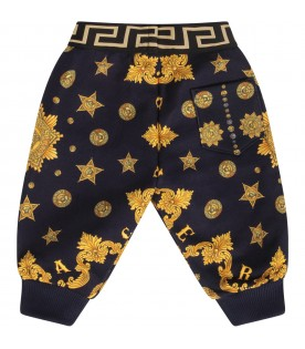 Blue babykids sweatpants with gold iconic medusa