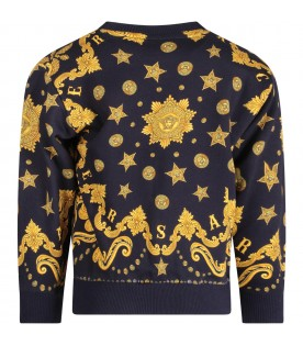 Blue kids sweatshirt with gold medusa