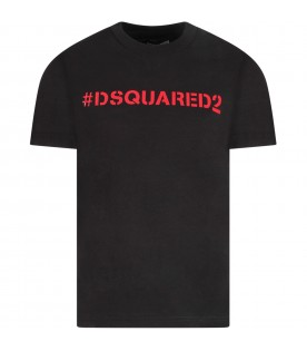Black boy T-shirt with red logo