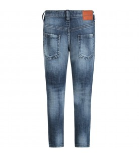 Denim kids jeans with white logo