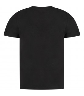 Black kids T-shirt with white logo and writing