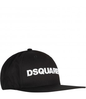 Black hat for boy with white logo