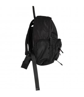 Black backpack for boy with red logo