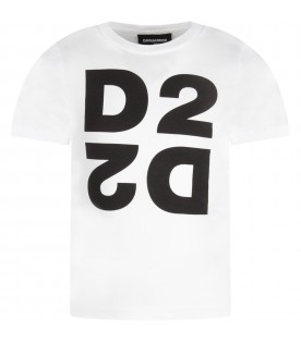 White kids T-shirt with black logo