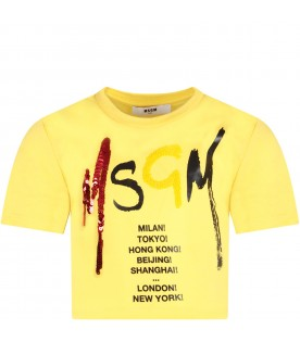 Yellow T-shirt for girl with logo and sequins