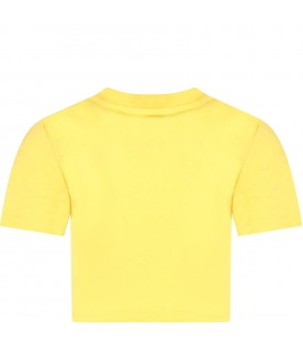 Yellow girl T-shirt with logo and sequins