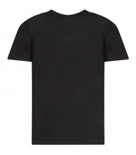 Black kids T-shirt with white logos