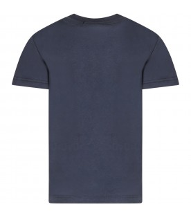 Blue kids T-shirt with white logos