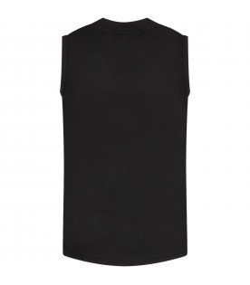 Black T-shirt with sequined logo for girl