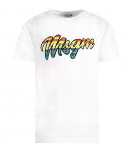 White T-shirt for girl with colorful logo
