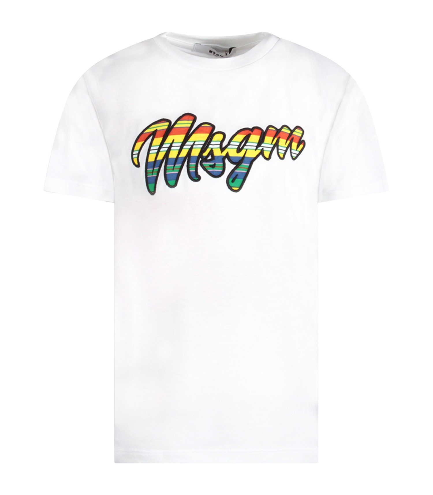 MSGM Kids White girl T-shirt with colorful logo