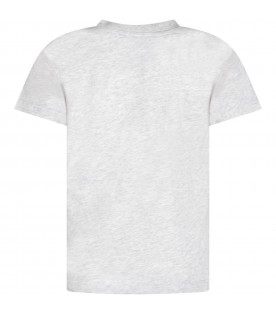 Grey kids T-shirt with black logo and writing