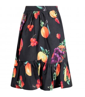 Black skirt with colorful fruits for girl