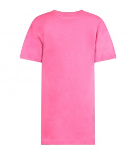 Fuchsia dress with logo and palm for girl