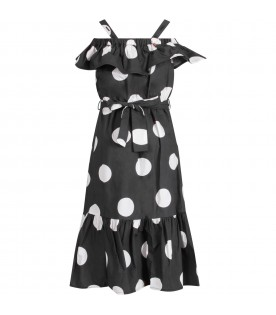 Black dress with polka dots for girl