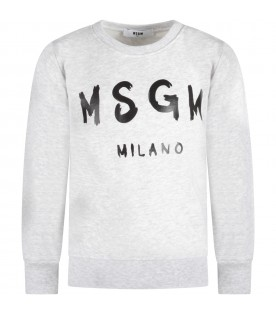 Grey sweatshirt with black logo for kid