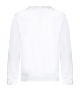 White sweatshirt with black logo and writing for kid