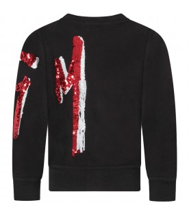 Black sweatshirt for girl with red and white sequined logo