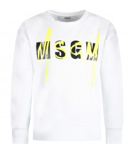 White kids sweatshirt with double logo