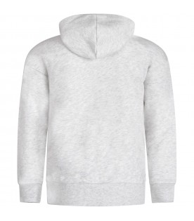 Grey sweatshirt for boy with double logo